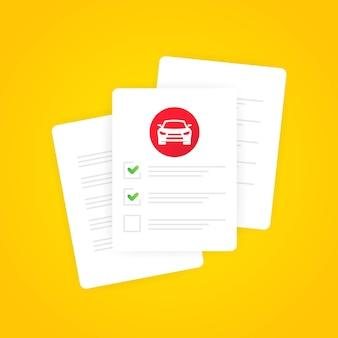 Banner de formulario de examen de conducción. autoescuela. vector sobre fondo blanco aislado. eps 10.
