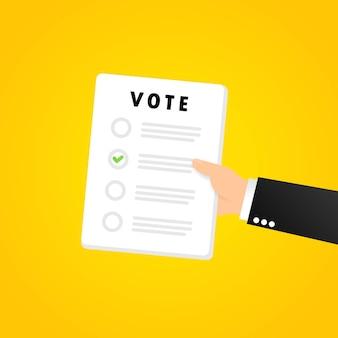 Banner de formulario de voto. boletín de votaciones. vector sobre fondo aislado. eps 10.