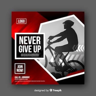 Banner con foto de atleta del ciclismo