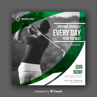 Banner con foto de atleta del golf