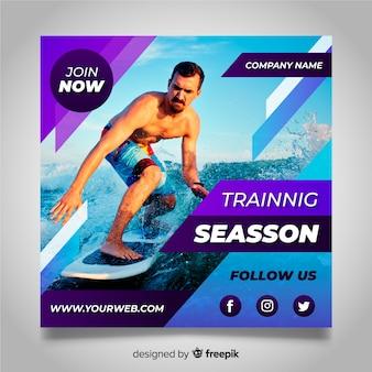 Banner con foto de atleta del surf