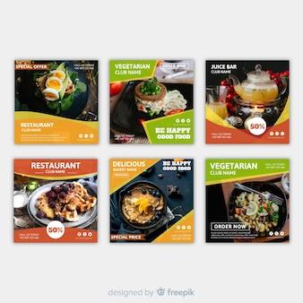 Banner fotográfico de comida cuadrado plano
