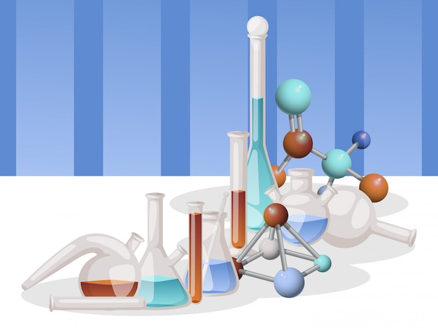 Banner de frascos de laboratorio diferentes cristalería de laboratorio y líquido para análisis, tubos de ensayo con líquido de diferentes colores, molécula