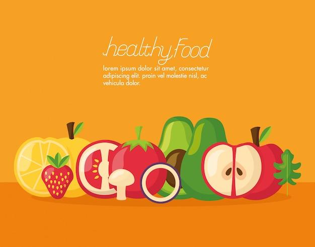 Banner fresco de alimentos saludables