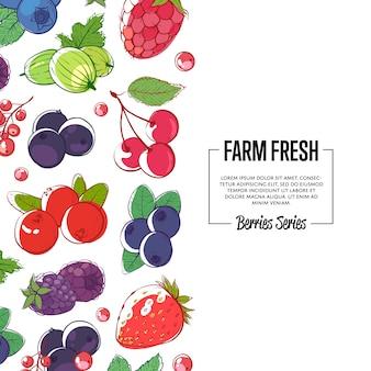 Banner fresco de granja con bayas maduras