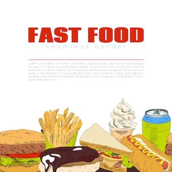 Banner de frontera transparente infográfico de comida rápida