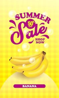 Banner de fruta de plátano de venta de verano