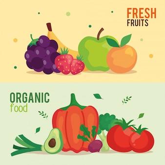 Banner de frutas frescas y alimentos orgánicos, concepto de comida sana