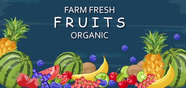 Banner de frutas frescas orgánicas