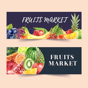 Banner con frutas tema acuarela con plantilla de ilustración de elementos.