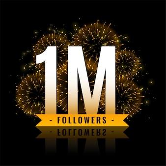 Banner de fuegos artificiales de celebración de un millón de seguidores.