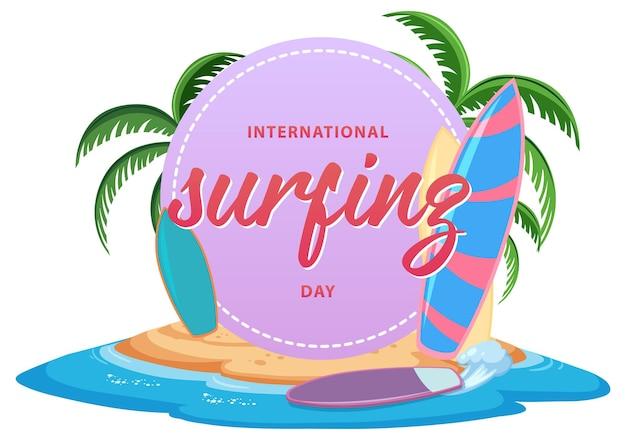 Banner de fuente del día internacional del surf en la isla aislada