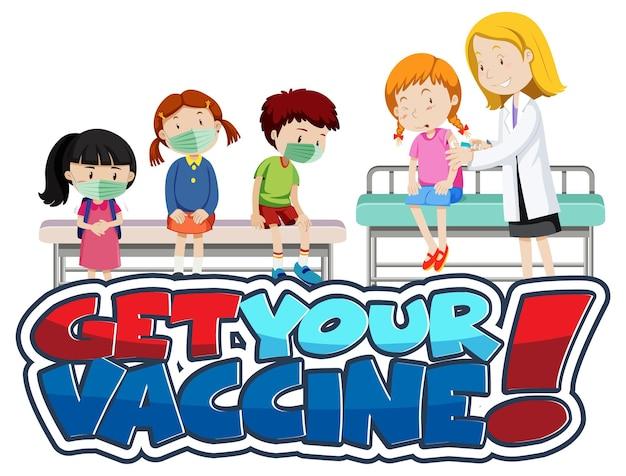 Banner de fuente get your vaccine con muchos niños esperando en la cola para recibir la vacuna covid-19