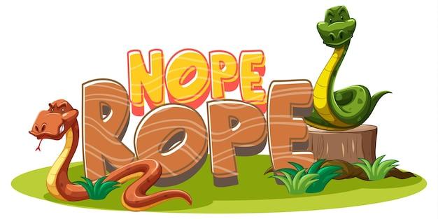 Banner de fuente nope rope con personaje de dibujos animados de serpiente aislado