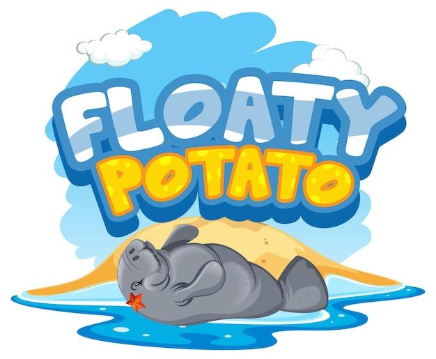 Banner de fuente de patata flotante con manatí o personaje de dibujos animados de vaca marina aislado