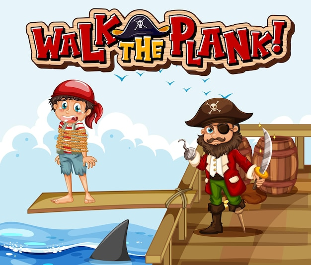 Banner de fuente walk the plank con personaje de dibujos animados pirata