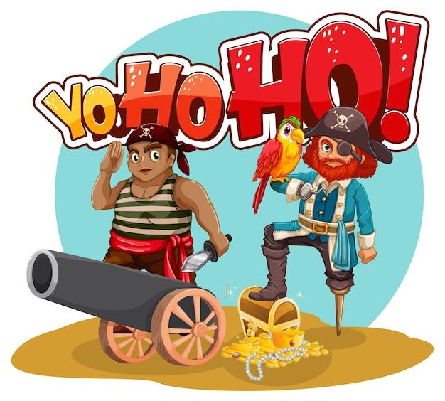 Banner de fuente yo ho ho con personaje de dibujos animados de hombre pirata