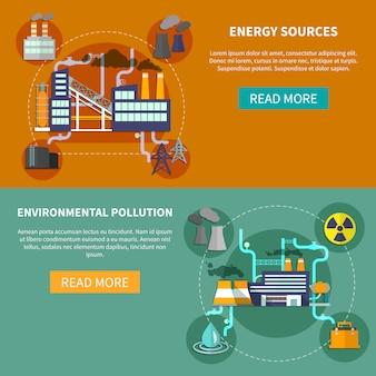 Banner de fuentes de energía y contaminación ambiental.