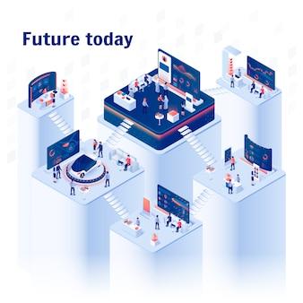 Banner de future today. centro de exposiciones de varios pisos.