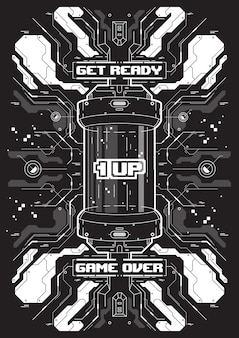 Banner futurista de cyberpunk con elementos de juegos retro.