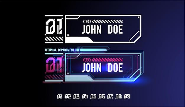 Banner futurista con elementos de hud. títulos de llamadas digitales.