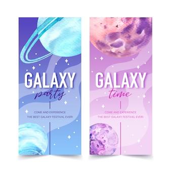 Banner de galaxia con ilustración acuarela de planetas.