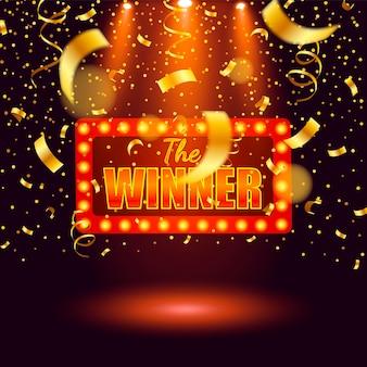 Banner ganador, ganador de cintas cayendo. ganadores del premio mayor del juego de lotería