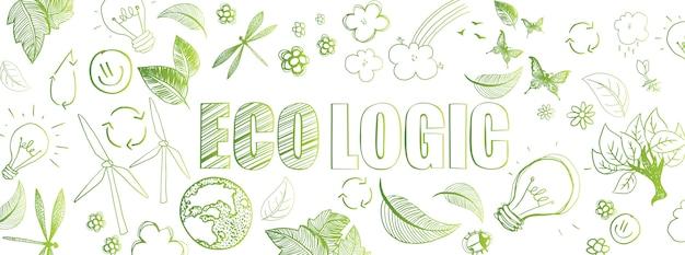 Banner de garabatos ecológicos