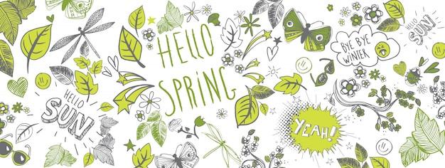 Banner de garabatos de primavera