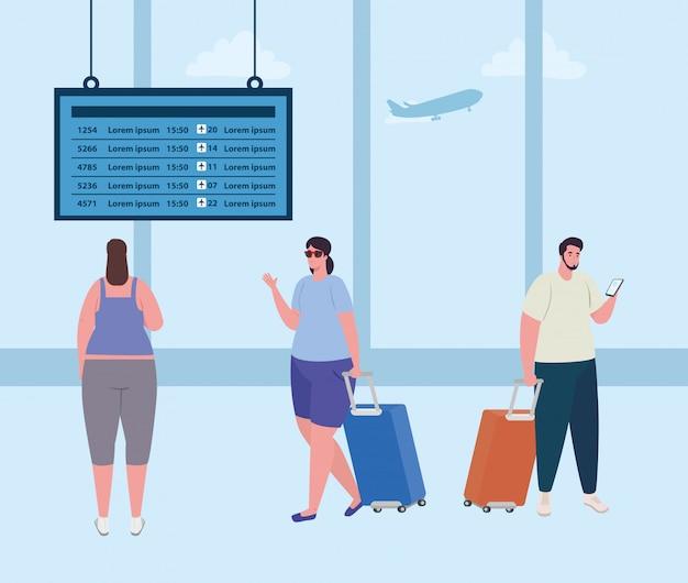 Banner con gente en la terminal del aeropuerto, pasajero en la terminal del aeropuerto con diseño de ilustraciones vectoriales de equipajes