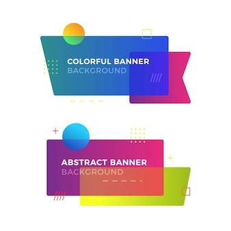 Banner geométrico abstracto en el estilo de diseño de memphis