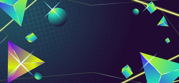 Banner geométrico en estilo años 80