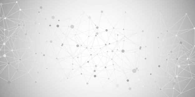 Banner geométrico con líneas de conexión y diseño de puntos
