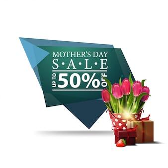 Banner geométrico moderno día de la madre descuento