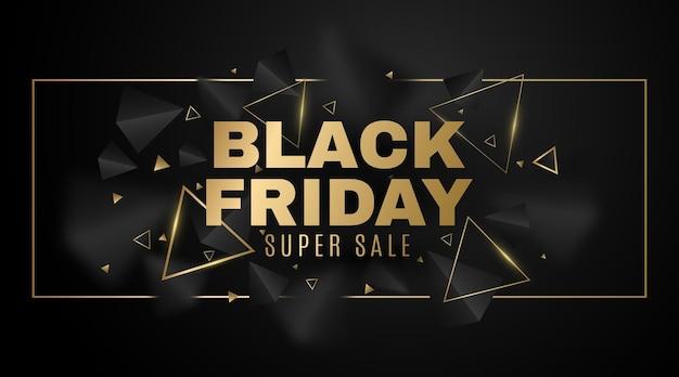Banner geométrico de triángulos 3d, negros y dorados para la venta del black friday. marco con elegantes formas poligonales decorativas. evento de descuento comercial. ilustración vectorial. eps 10