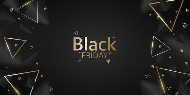 Banner geométrico de triángulos negros y dorados 3d para la venta del black friday. formas poligonales