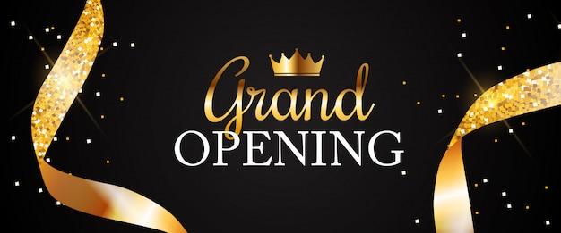 Banner de gran inauguración con cinta dorada