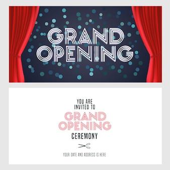 Banner de gran inauguración y tarjeta de invitación.