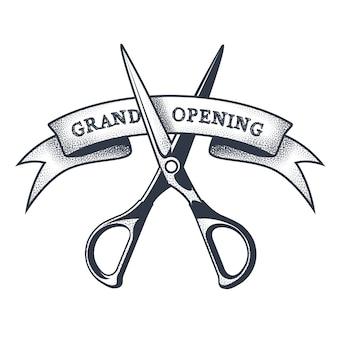 Banner de gran inauguración: tijeras cortando una cinta, lanzando un proyecto, vintage