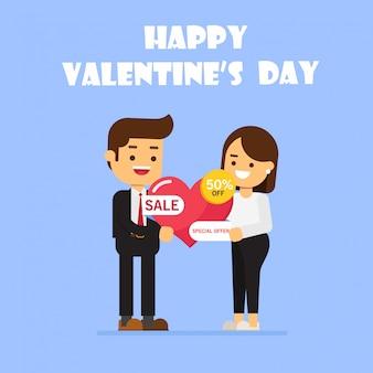 Banner de gran venta del día de san valentín con hombre y mujer, amor, compras