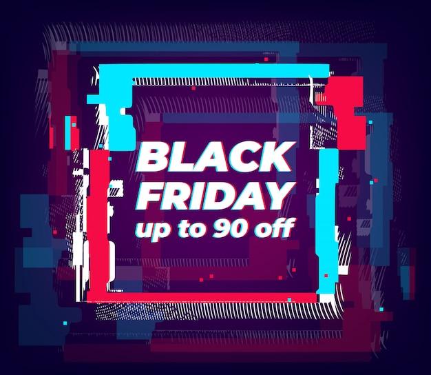 Banner de gran venta con efecto de falla. forma cuadrada distorsionada con efecto estéreo. cartel glitched con colores de neón para compras web, impresión, publicidad.