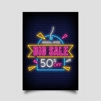Banner de gran venta en estilo neón