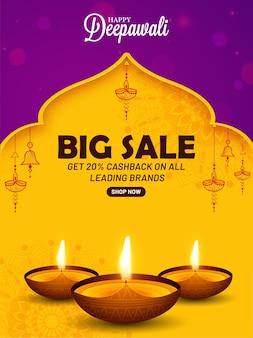 Banner de gran venta feliz diwali y lámparas de aceite.