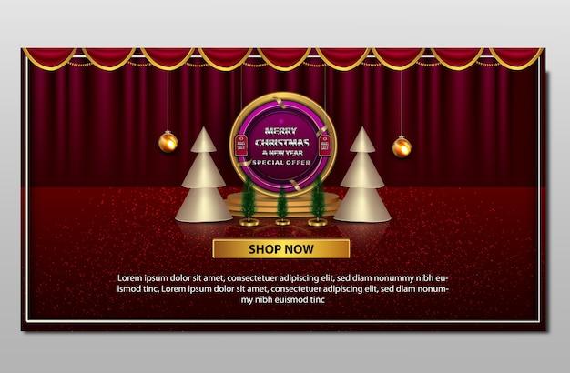 Banner de gran venta de feliz navidad y año nuevo de lujo