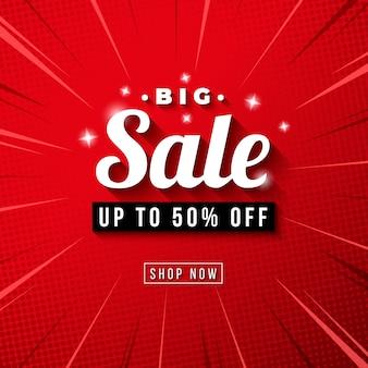Banner de gran venta con fondo de zoom comic rojo