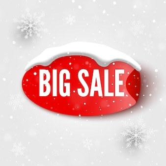 Banner de gran venta con gorro de nieve adhesivo rojo y copos de nieve ilustración vectorial