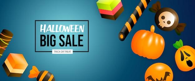 Banner de gran venta de halloween con dulces y calabazas