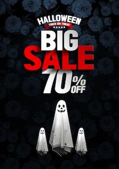 Banner de gran venta de halloween con fantasma sobre fondo de flores