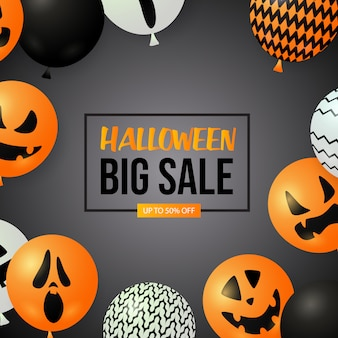 Banner de gran venta de halloween con globos fantasma