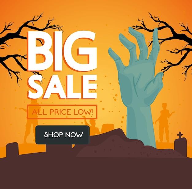 Banner de gran venta de halloween con zombie de mano en la escena del cementerio